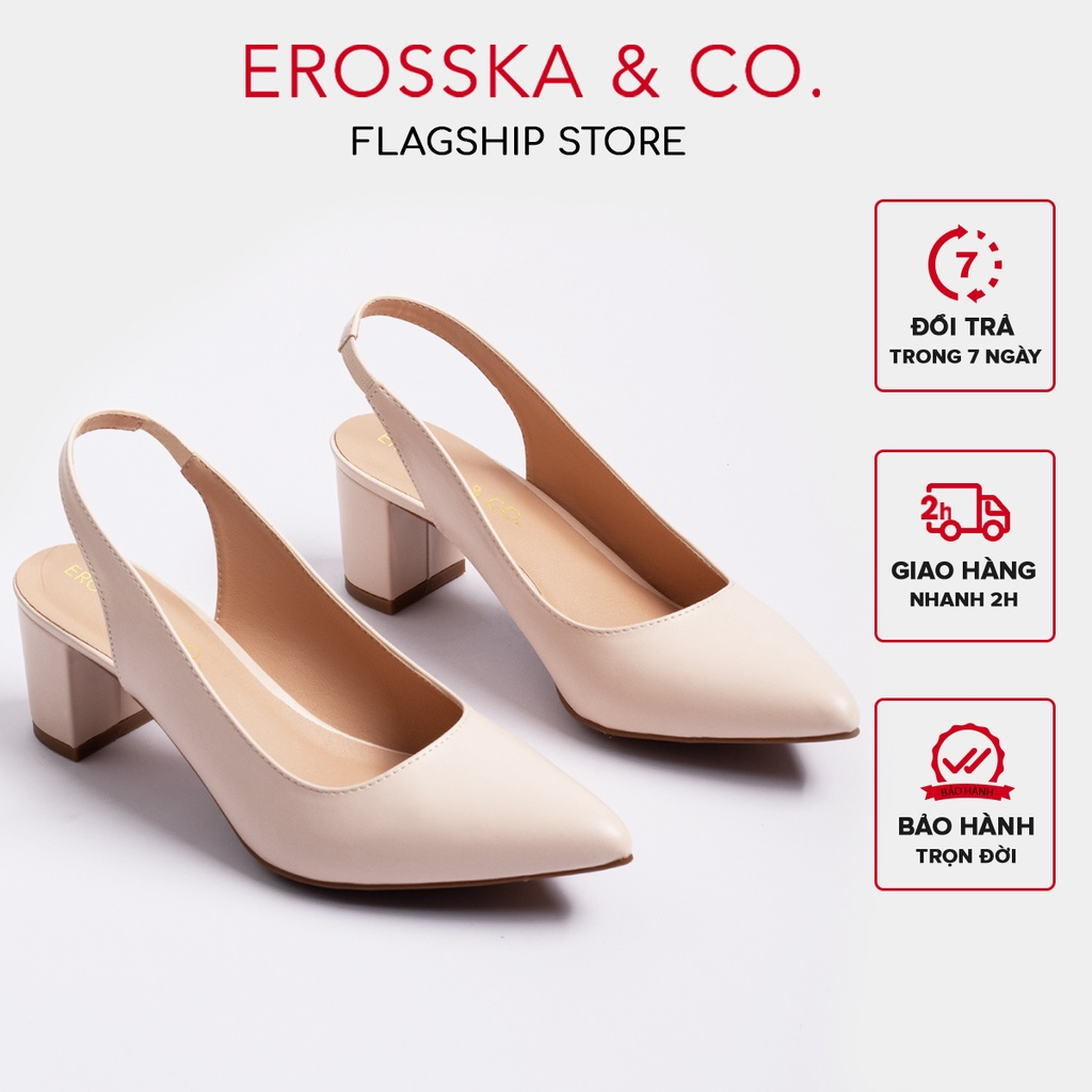 [Mã WABR151 giảm 10% đơn 99000] Giày cao gót Erosska thời trang mũi nhọn phối dây hở gót cao 5cm_EH015