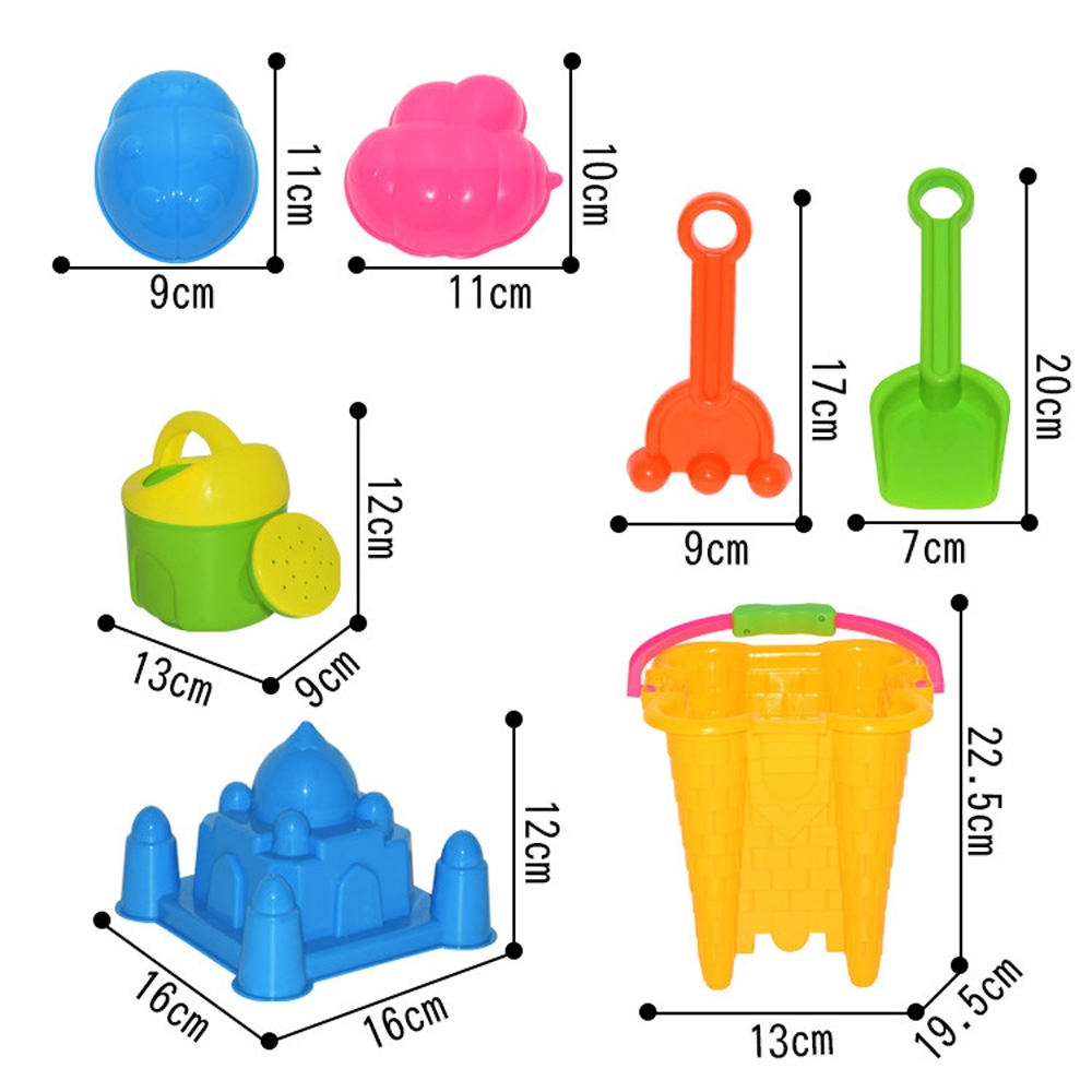 7pcs Sand Castle Mould Kit for Kids Bucket and Spade Beach Holiday Sandpit Toys