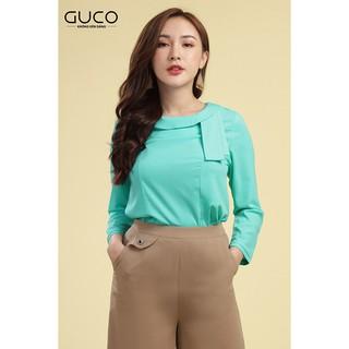 GUCO - Áo nữ cổ tròn tay dài màu xanh ngọc thanh lịch A160 thumbnail