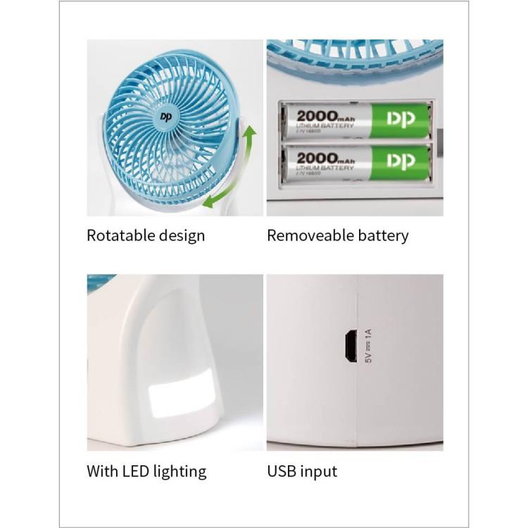 [DP SIÊU MÁT] QUẠT SẠC SIÊU MÁT USB DP 7605 - 3 TỐC ĐỘ GIÓ - ĐÈN LED