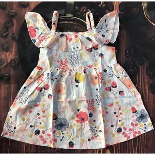 Đầm hai dây cho bé gái, vải boil xuất dư, size 2-8 từ 8kg - 24kg, kiểu dáng đơn giản thanh lịch, hoa rực rỡ