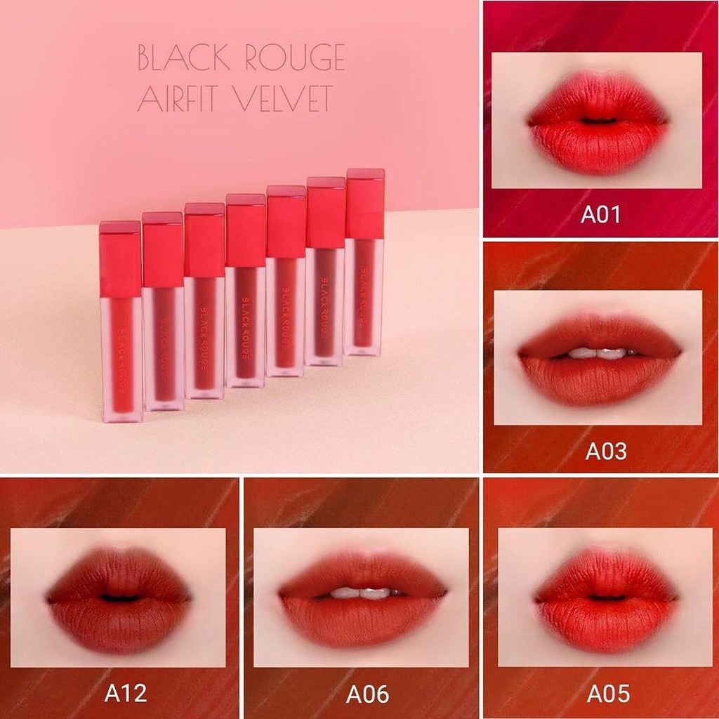 [A1 > A17] Son Kem Lì Black Rouge Air Fit Velvet TintA01 Bản đỏ