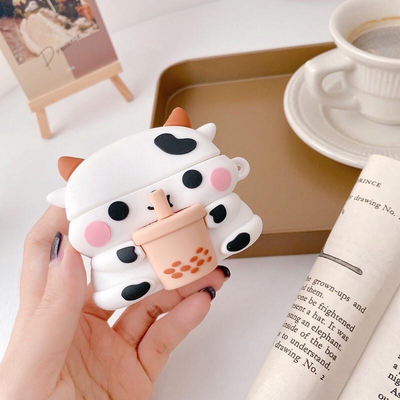 Vỏ bảo vệ bao đựng tai nghe ✔️ case airpod 1 2 Pro ✔️ Bò sữa