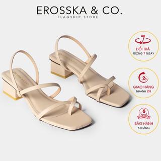 Sandal nữ xỏ ngón dây mảnh thời trang Erosska cao 5cm màu kem_EB024