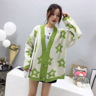 Women's spring and autumn loose knitted long sleeve coat