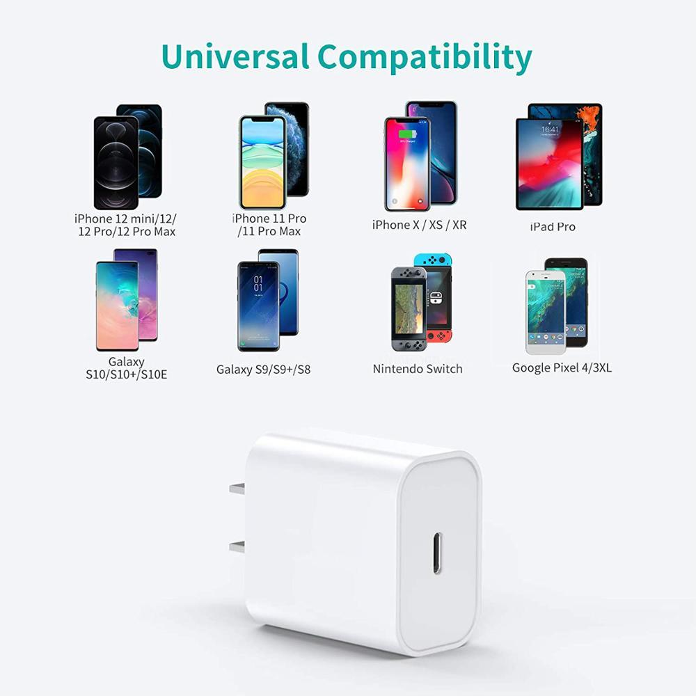 Bộ Sạc Nhanh 18w Pd Usb C Cho Iphone 12 Pro Max 11 Xs Xr Qc 3.0 On Xiaomi