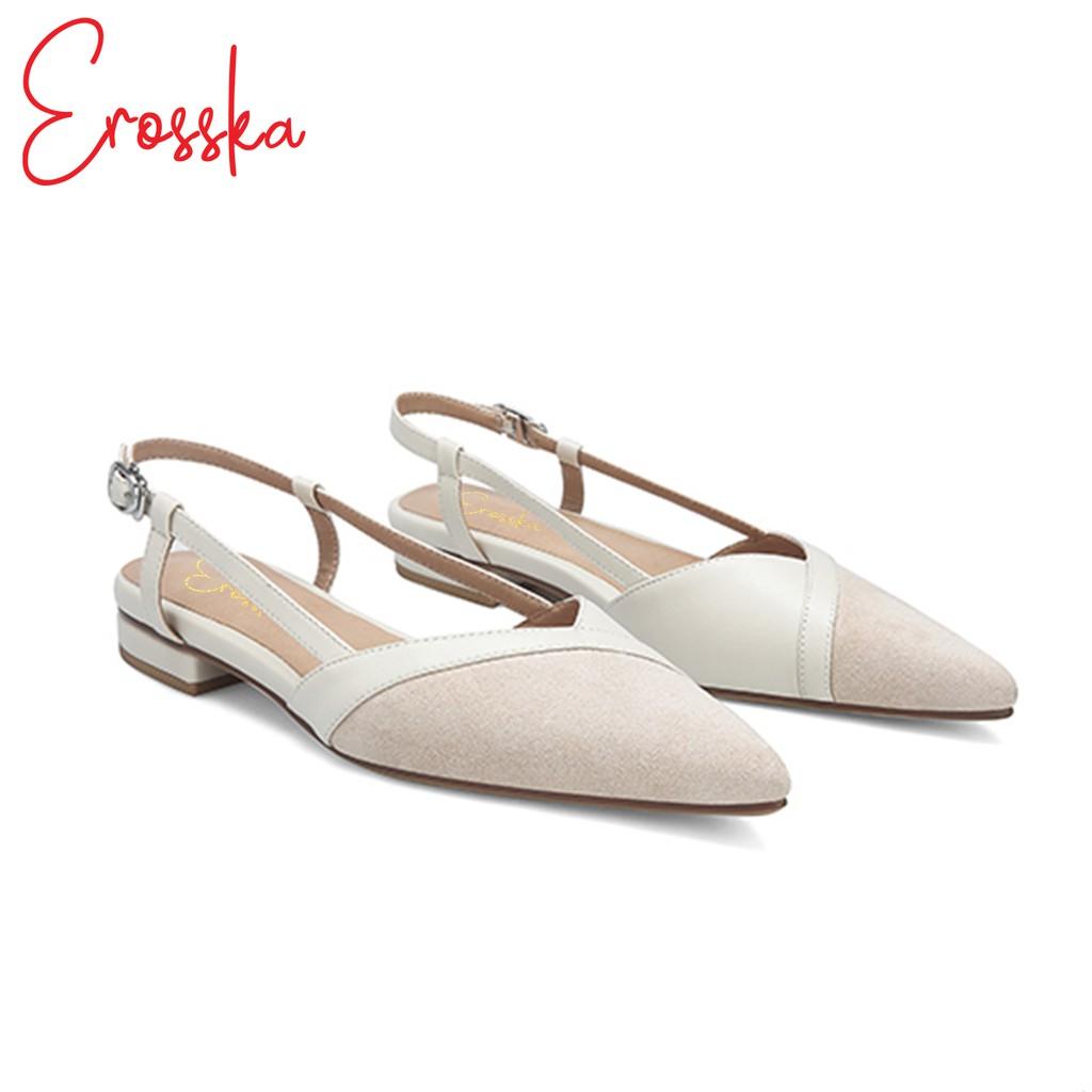Hình ảnh Giày Sandal Nữ Đế Bệt Mũi Nhọn Thời Trang Erosska EL005 ( Màu Kem)-1