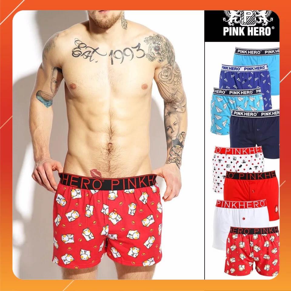 100KG có size - COMBO 4 chiếc quần đùi ngủ sịp boxer briefs nam cotton Pink Hero cotton cao cấp (Sỉ inbox)