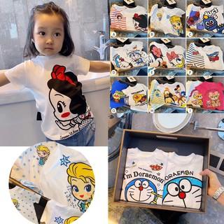 Set 2 áo thun cotton họa tiết hoạt hình dễ thương cho bé