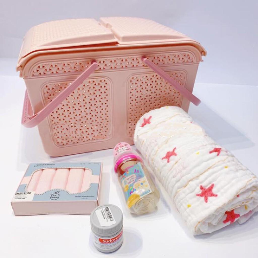 Làn nhựa đựng đồ đi sinh cho mẹ và bé, Giỏ đựng đồ sơ sinh cho bé hàng cao  cấp