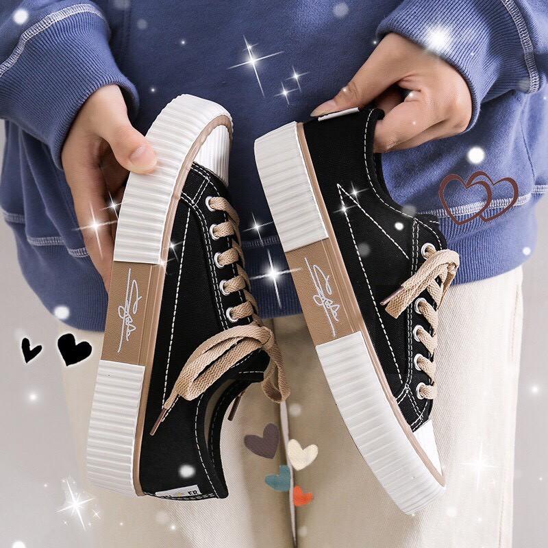 (3 MÀU) Giày thể thao nữ đế gồ chữ ký thấp cổ dáng học sinh sinh viên đều phù hợp mã C-2