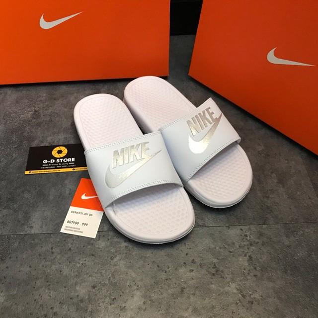 Dép Nike benassi Trắng logo bạc - FULLBOX + thẻ bảo hànhG-D STORE 39