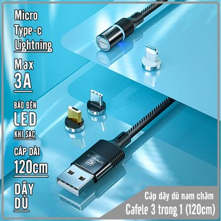 [Mã ELFLASH5 giảm 20K đơn 50K] Cáp sạc CAFELE đèn LED từ nam châm 3 cổng Micro, TypeC, Lightning