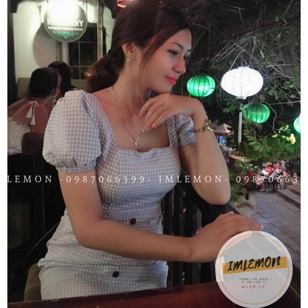 Váy Đầm nữ Ulzzang - Cổ Vuông Tay Phồng Nút Gỗ Tiểu Thư MACCY, Bo Eo siêu Đẹp