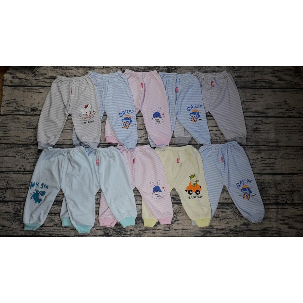 (bịch 10 chiếc) Quần dài thu đông cotton mềm mịn in hình ngộ nghĩnh cho bé từ 0-30 tháng (Hàng Việt Nam)
