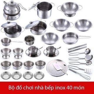 BỘ ĐỒ CHƠI NẤU ĂN BẰNG INOX CHO BÉ loại 40 chi tiết