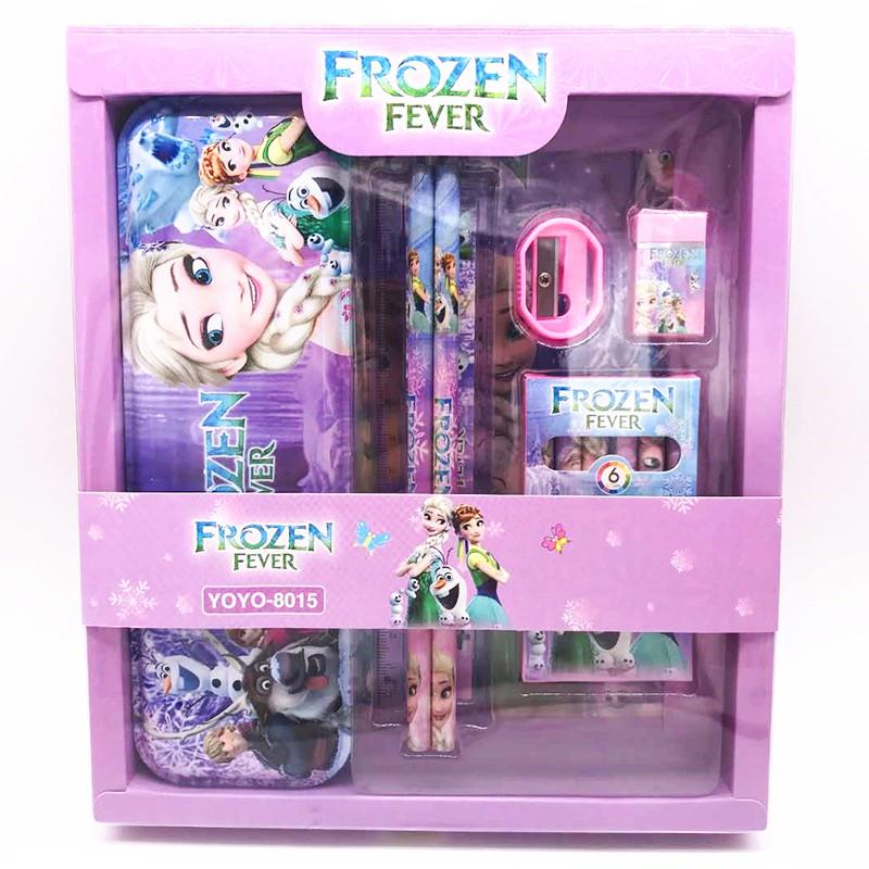 Bộ dụng cụ học tập, Bộ đồ dùng học tập 7 món kèm hộp quà lung linh chủ đề hoạt hình cho bé yêu BBShine – H004
