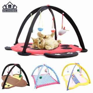 HD Pet Bed Tent Activity Cat Play Mat With Dangle Foldable Soft Pet Toys