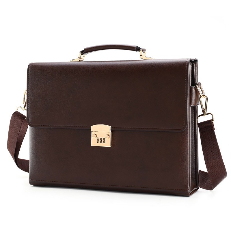 Túi xách cặp da giáo viên đựng laptop 14 inch da bò công sở T21 khóa số (Nâu-Đen)