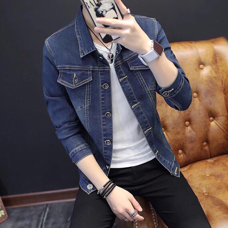 [Áo Siêu Đẹp] Áo Khoác Jean Nam Xanh Trơn Y Hình Phong Cách Chất Jean Co Dãn Siêu Bền Đẹp, Áo Khoác Bò - Áo khoác jeans