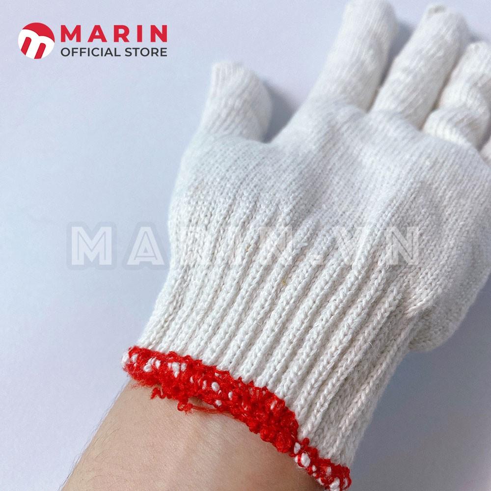 Găng tay bảo hộ lao động, găng tay làm vườn, chất liệu vải sợi polyester màu trắng (1 đôi)