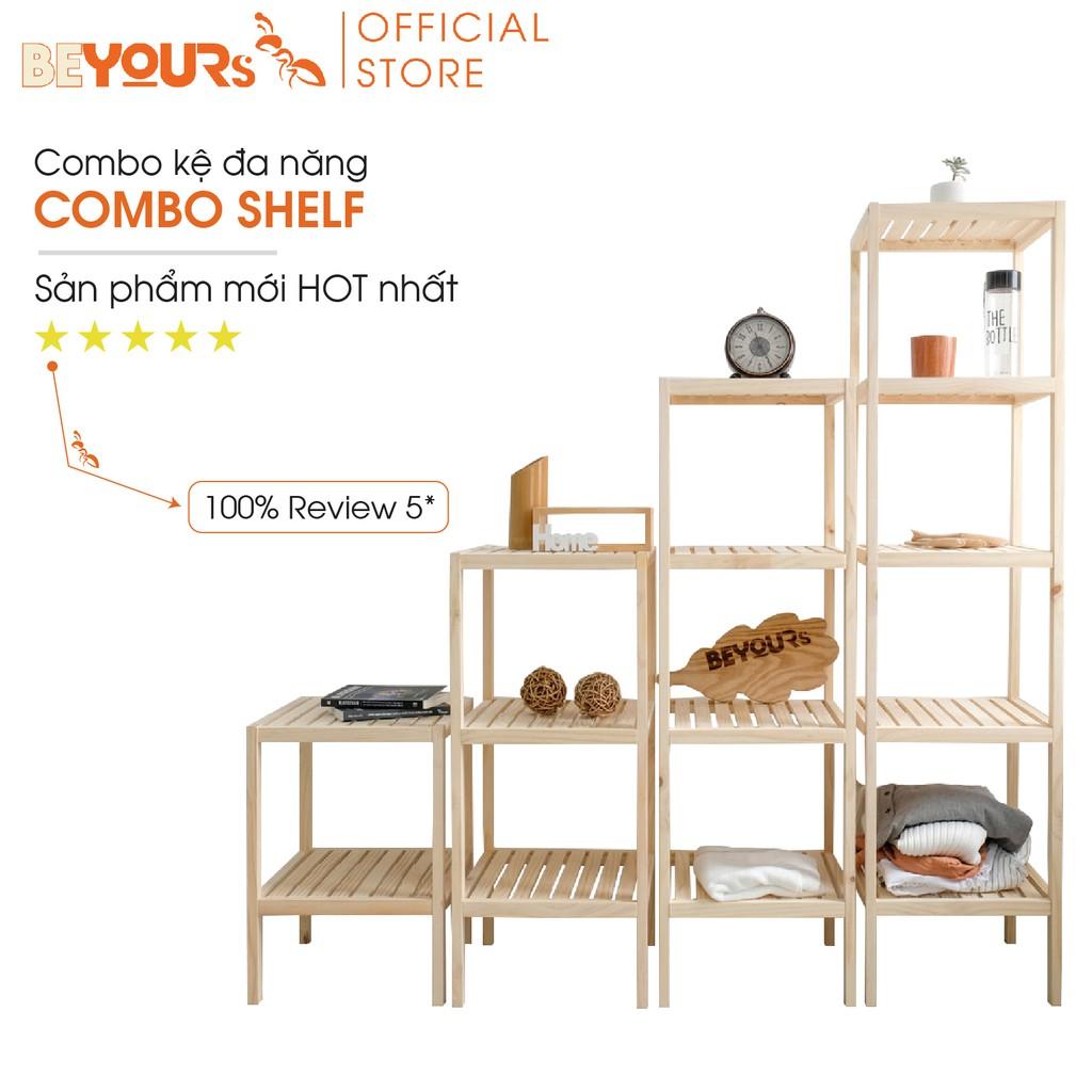 [Mã NOIT10BE8 giảm 10% đơn 500k] Combo kệ đa năng BEYOURs Shelf nội thất kiểu hàn - Màu gỗ tự nhiên