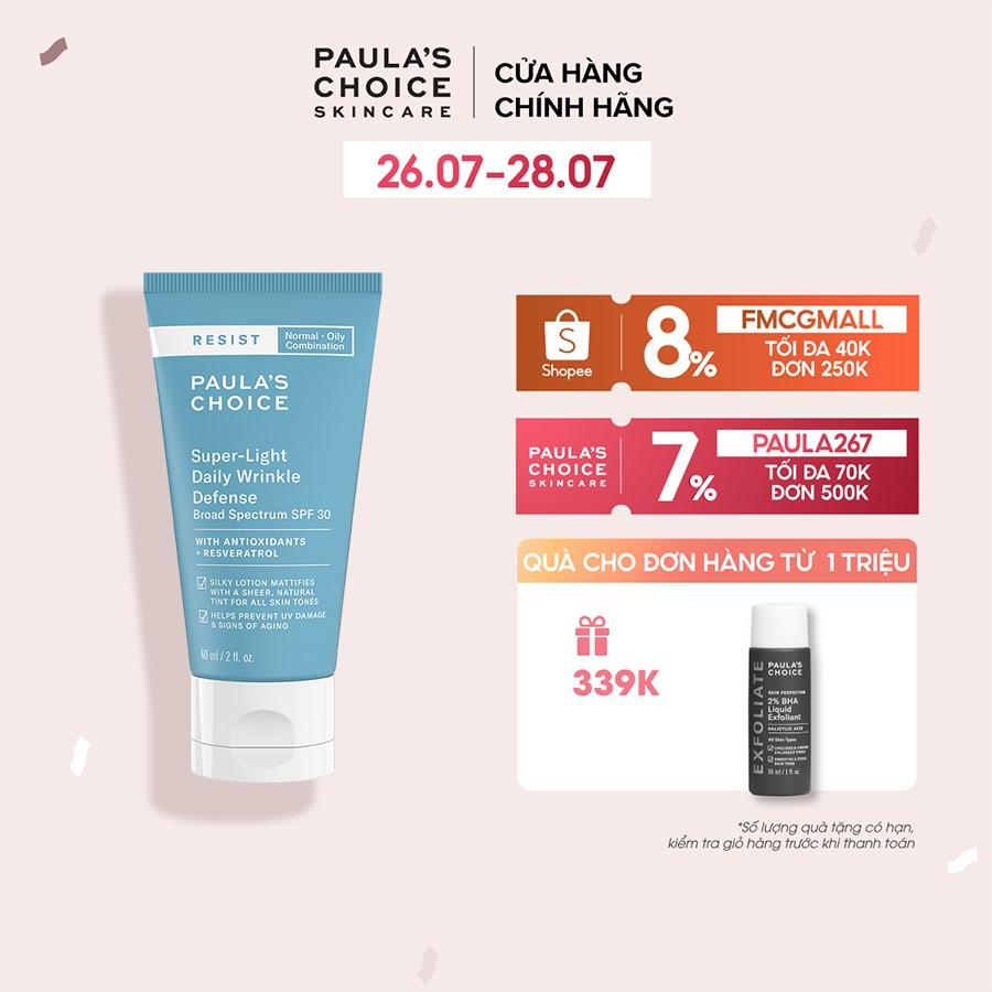 Kem chống nắng đa năng siêu nhẹ không bết dính Paula's Choice Resist Super -Light Daily Wrinkle Defence SPF 30 60ml 7760
