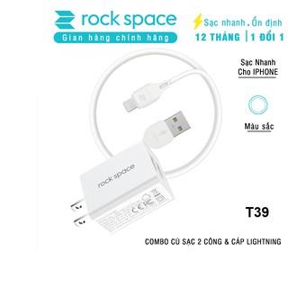 Bộ sạc nhanh iphone Rockspace T39 2 cổng 2,4A + Cáp sạc iphone, màu trắng, hàng chính hãng, bảo hành 12 tháng thumbnail