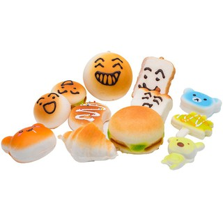30 PCS Squishy Squeeze Slow Rising Simulation Cake Bread Donut Random Phone Pendant Fun Relieve Stress Toy Set ben