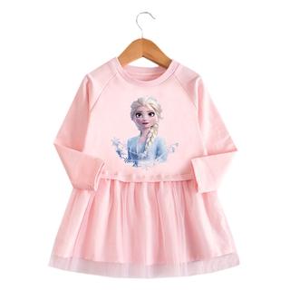 Đầm Công Chúa Elsa Tay Dài Phối Lưới Xinh Xắn Cho Bé Gái