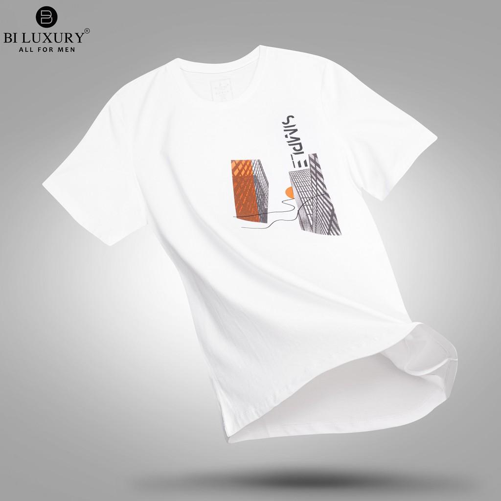 Áo thun nam BILUXURY 4APKH015TRT họa tiết trẻ trung năng động vải cotton kháng khuẩn đẳng cấp