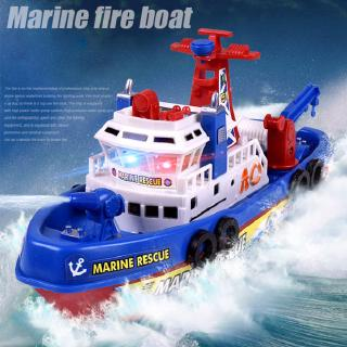 Kids Electric Fire Fighting Ship Model with Sound Lights Water Spraying Boat Toys as Xmas Gifts