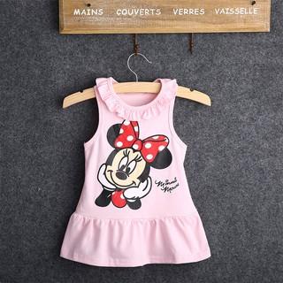 Đầm sát nách in hình chuột Minnie màu hồng/ đỏ cho bé gái