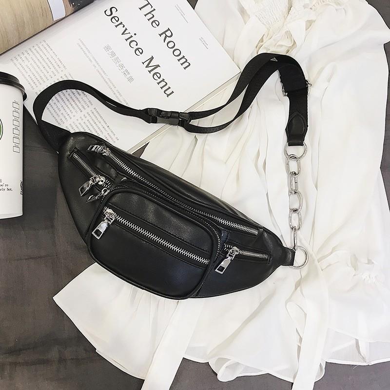 Túi đeo chéo bao tử nữ da mềm phối dây xích cá tính tôn dáng trước ngực hông vai đựng điện thoại ví tiền đồ trang điểm