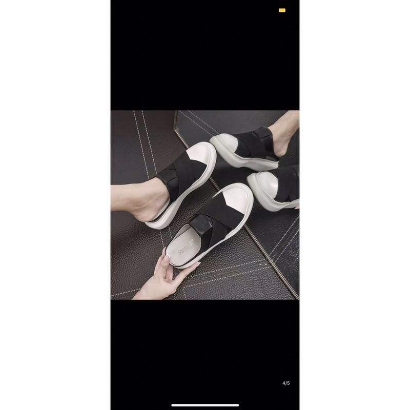 (ảnh+video) giày sục nữ mũi trắng trun chéo êm nhẹ
