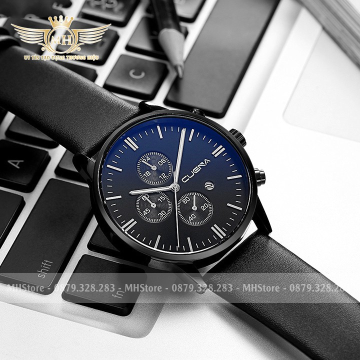 Đồng hồ nam Cuena ⚡FreeShip⚡ Dây da, thiết kế mỏng kèm lịch cao cấp - Đồng hồ Cuena ⚡ Hàng chính hãng ⚡ BH 12 tháng