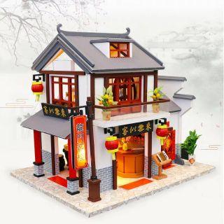 Kèm Mica – Mô hình nhà gỗ búp bê Dollhouse DIY – M901 Dragon Gate quán ăn Trung Hoa