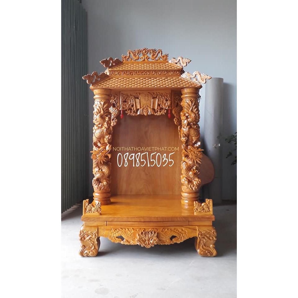 Bàn thờ thần tài CAO CẤP mái ngói gỗ GÕ ĐỎ kiểu RỒNG MÂY KT 81CM x 68CM x