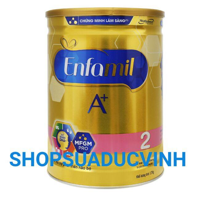 (TKBDULICH1 giảm 5% tối đa 25k) Sữa bột Enfamil A+ 2 DHA+ và MFGM PRO lon 1.7kg