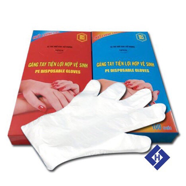 [Mã 267FMCGSALE giảm 8% đơn 500K] Găng tay nilong dùng 1 lần tiện lợi 100 chiếc