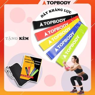 Dây kháng lực tập gym, dây miniband tập mông đùi TOPBODY (tặng khẩu trang kháng khuẩn)