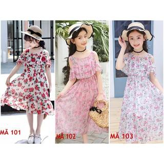 Đầm bé gái voan hoa ĐỎ MÃ 101 + HỒNG MÃ 102 + TRẮNG MÃ 103