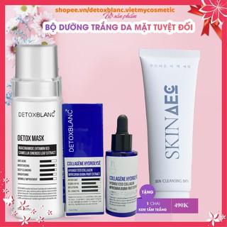 Combo dưỡng trắng da Detox blanc (Detox mask+ serum collagen) tặng kèm sữa tắm trắng hàng ngày skin aec thumbnail