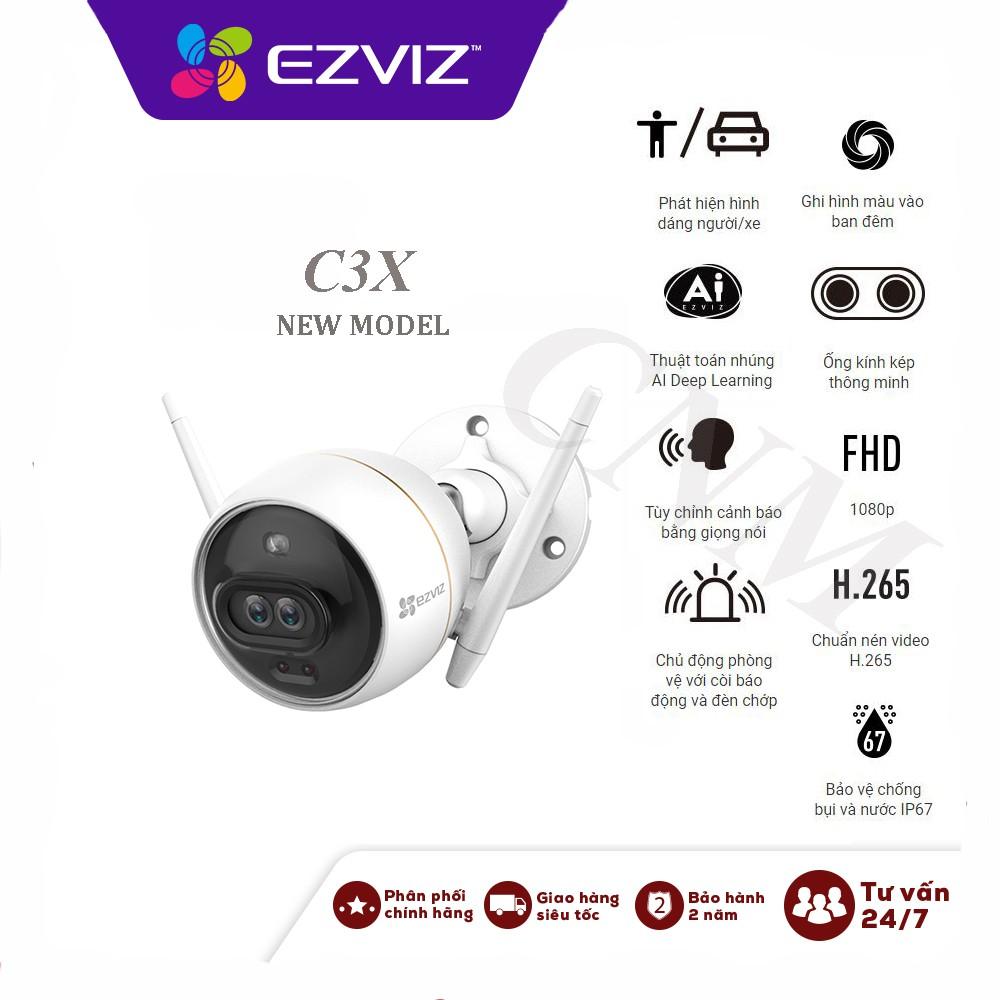 Camera Wifi EZVIZ Ngoài Trời C3X (CS-CV310)  2.0MP 1080P , có màu ban đêm, báo động công nghệ Ai, kèm thẻ 32Gb và 64GB