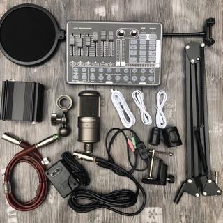 Bộ mic thu âm Takstar SM8B sound card h9 có chân màng dây livestream MA2- Sound card h9 có bluetooth chế độ autu-tune