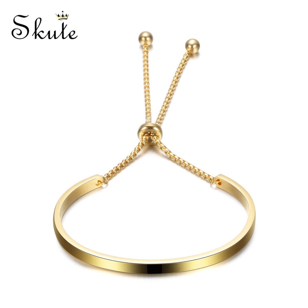 Lắc tay Skute bằng inox có thể điều chỉnh kiểu dáng đơn giản sành điệu cho nữ