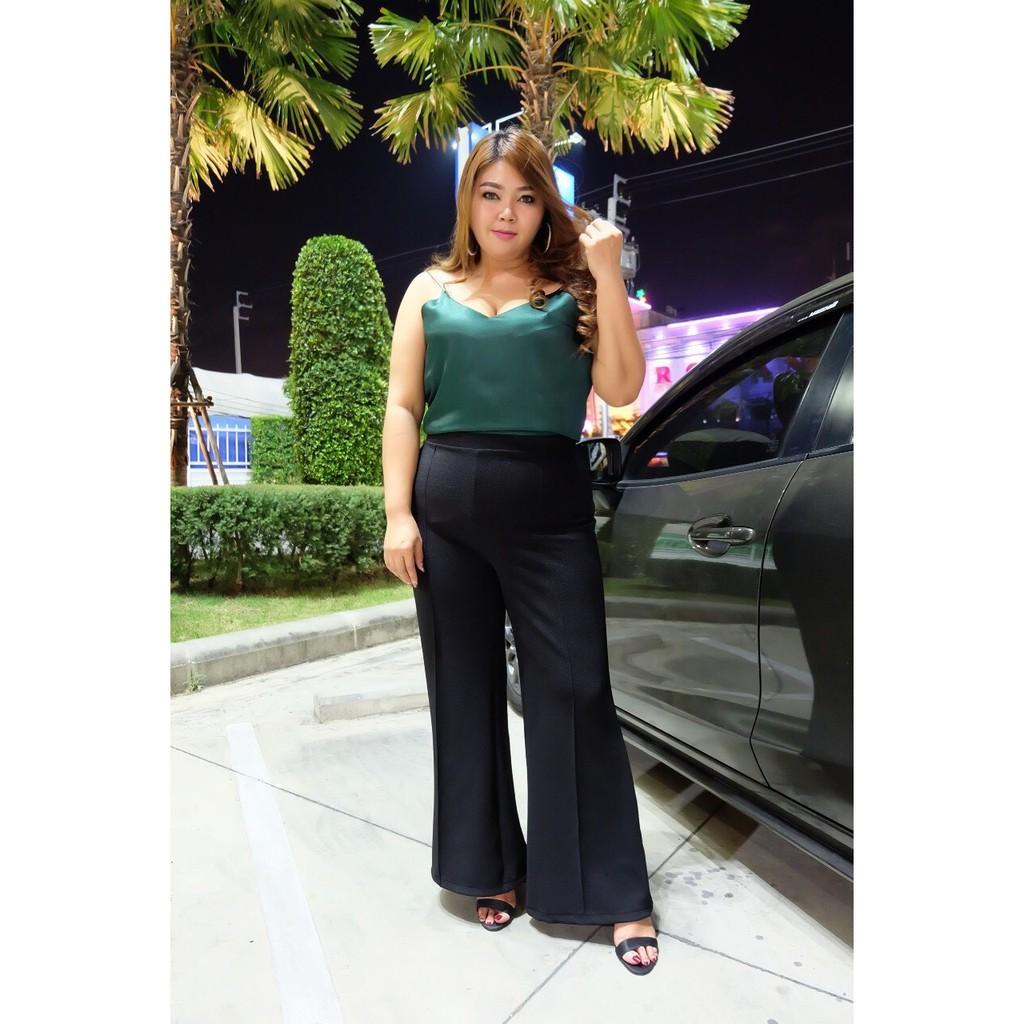 กางเกงขาม้าสีดำ (สาวอวบ) กางเกงขายาวตีเกร็ดหน้า อำพรางหุ่น เนื้อผ้าวูลเวฟ