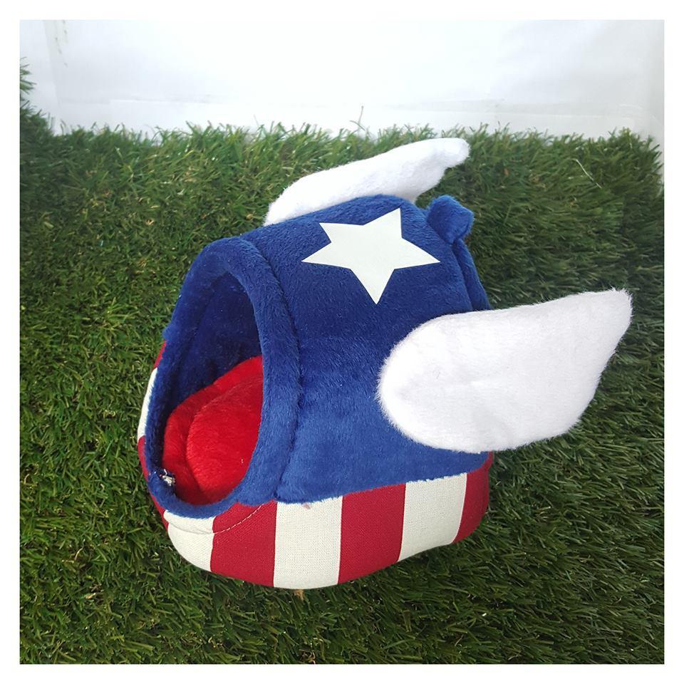 Size M - KPS Captain America Dome โดมนอนสำหรับกระต่าย ชูการ์ไกลเดอร์ แพรี่ด็อก ลายกัปตันอมเริกา (M, L, XL)