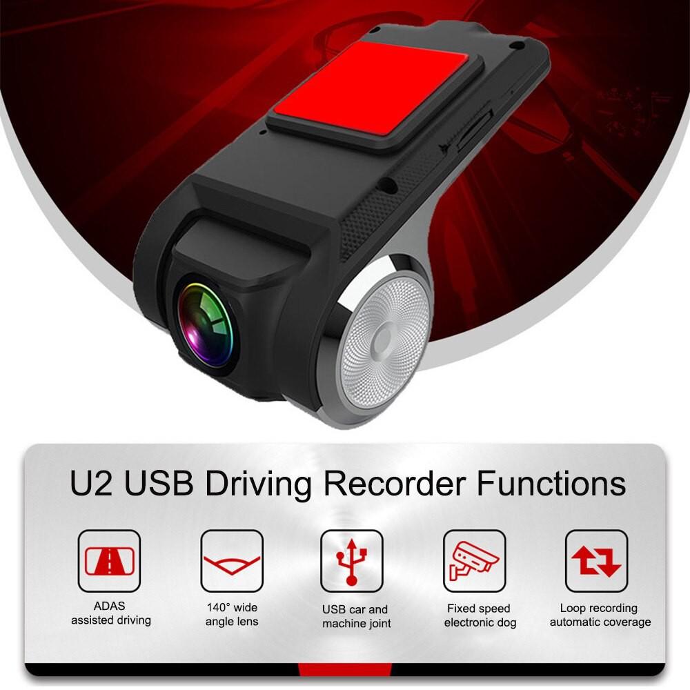 Camera Hành Trình Ô Tô, Xe Hơi Camera U2 HD Tích Hợp Màn Hình Android - Cổng USB