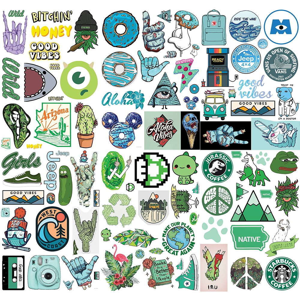 Sticker nhám size lớn 6-10cm ko thấm nước dán Nón BH, laptop, vali, xe,....